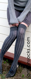 RocknSocks Slick Grey Vertical Striped Cotton Over the Knee Socks (OTK)
