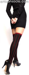 RocknSocks Slick Black Vertical Striped Cotton Over the Knee Socks (OTK)