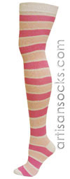 aa20c0acf02 RocknSocks Venus Pink Cotton Striped Over the Knee Socks (OTK)