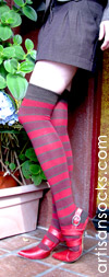 RocknSocks Pele Cotton Striped Hosiery, Over the Knee Socks (OTK)