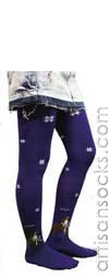 Scolar Japanese Stockings - Cute Doggy Tights - Purple Japanese Tights