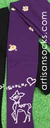 Scolar Japanese Stockings - Bambi Deer Japanese Tights - Purple Tights