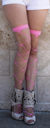 Sexy Jumbo Fishnet Thigh Highs Candy Pink