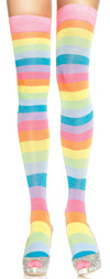 Sexy Neon Rainbow Thigh Highs Multicolor