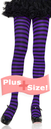 Sexy Plus Size Tights with Black and Purple Stripes Black / Purple