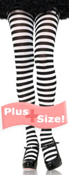 Sexy Plus Size Tights with Black and White Stripes