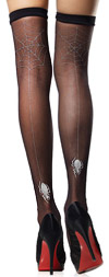Sheer and Sexy Thigh High Stockings with Silver Spider Web Backseam Black / Silver