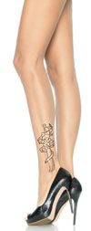 Girly Pirate Tattoo Tights - Sexy Stockings Nude