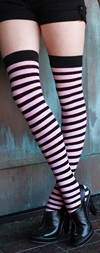 Sexy Striped Thigh High Stockings Black / Light Pink