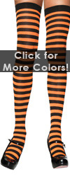 Sexy Striped Thigh High Stockings Black / Pumpkin Orange