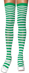 Sexy Striped Thigh High Stockings White / Kelly Green