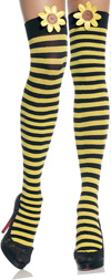 Sexy Striped Thigh High Stockings w/ Daisy Black / Yellow