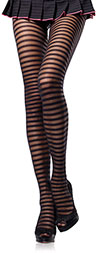 Sheer Black Pantyhose with Opaque Stripes