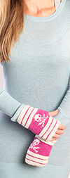Fingerless Gloves with Stripes and Skulls - PINK / WHITE