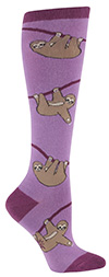 Climbing Sloth Socks Purple Knee High Socks