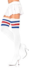 Sexy 3 Stripe Soccer Thigh Highs-Red White and Blue
