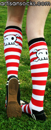 Sock It To Me Pirates Skull Striped Cotton Knee High Socks