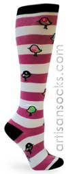 Sock It To Me Bird Striped Cotton Knee High Knee Socks