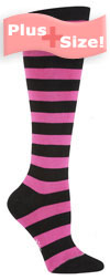 Sock it to Me Pink / Black Striped Knee High Socks, PLUS SIZE