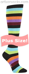 PLUS SIZE Sock it to Me Bryce T Multicolored Striped Knee High Socks