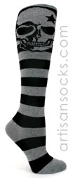 Sock it to Me Grey Skull Knee High Socks with Black Stripes