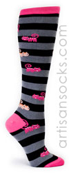 Sock it to Me Cats Knee Highs with Black and Grey Stripes