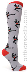 Sock it to Me Ninja Knee High Socks - Grey