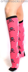 Sock it to Me Grrrl Skull Knee High Sock - Pink