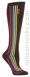 Sock it to Me Love Luma Brown Knee High Socks with Stripes