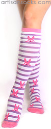 Sock it to Me Pink Bunny Knee Socks with Purple Stripes
