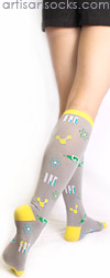Sock it to Me Mad Science Knee High Socks - Gray