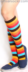 Sock it to Me Warm Multicolor Striped Knee High Sock