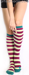 Sock it to Me Lt Green / Maroon Striped Knee Hi Socks