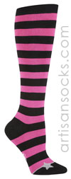 Sock it to Me Bright Pink and Black Striped Knee High Socks