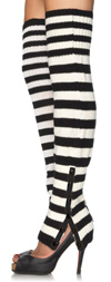 Striped Extra Long Side Snap Leg Warmers Black / White