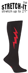 Super Hero! Red & Black Knee Highs (STRETCH-IT Extra Stretchy Version)