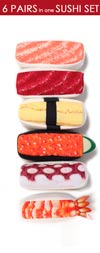 Sushi Sock Set: 6 types of sushi socks (6 pairs)