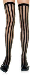 Sheer and Opaque Vertical Stripe Stockings