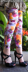 Violet Love Spoil Me Floral Print Leggings / Footless Tights