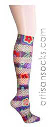 Violet Love Mix Fishnet Retrophilia Floral Print Knee High Stockings / Trouser Socks
