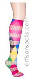 Mix Fishnet Rubix Cube  Knee Highs