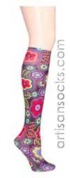 Violet Love Retrophilia Floral Print Knee High Stockings / Trouser Socks