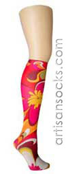 Violet Love Emilio Floral Print Hosiery, Knee High Women's Socks