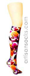 Violet Love Spoil Me Flower Print Knee High Stockings / Trouser Socks