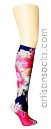 Violet Love Sweet Melon Floral Print Knee High Stockings / Trouser Socks