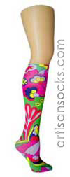 Violet Love Rainbow Bright Floral Knee High Stockings / Trouser Socks