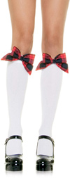 White Knee Hi Stockings  W/Plaid Bow White