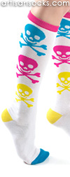 Neon Skull and Crossbones Knee High Socks