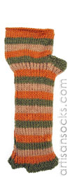 Fleece Lined Olive and Orange Striped Long Wool Fingerless Gloves