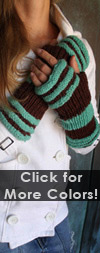 Fleece Lined Striped Wool Fingerless Gloves- 2 Color Options! Turquoise / Brown